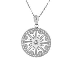 925 Silver Openwork Flaming Sun Medallion Necklace